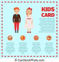 Red hair kids card infographic - Blue kids card infographic...