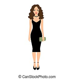 Lady in night black dress isolated vector illustration on...
