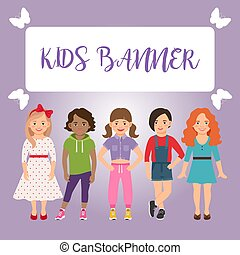 Kids banner with girls