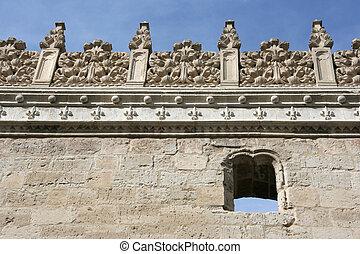 Valladolid - Decorative plateresque wall of Colegio de San...