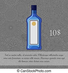 Alcoholic beverage, gin card template with price and...