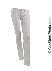 White jeans trousers on a mannequin isolated on white