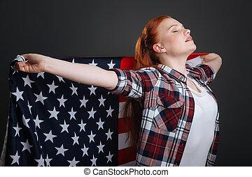 frau, Sie, Ausstellung, sicher, träumerisch, Patriotisch, Geist