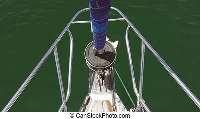 Front of sailboat sailing - Top view of front of sailboat...