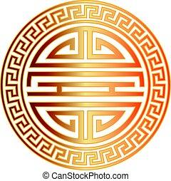 Chinese Longevity Symbol with Border Illustration - Chinese...