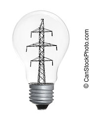 Light bulb isolated on white background - High-tension power...