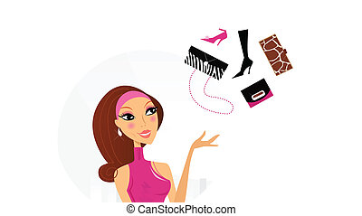 Woman make decision what to buy - Pretty woman in pink dress...