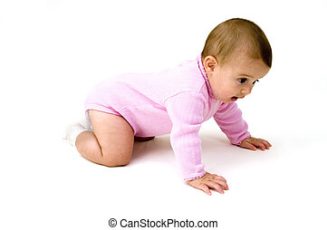 Cute Baby Crawling, Isolated on White Background.