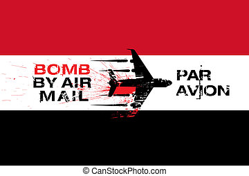 Yemen flag and Bomb by air mail - Yemen Flag with Explosive...