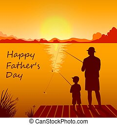 Dad and son fishing on the sunset together. - Silhouettes of...