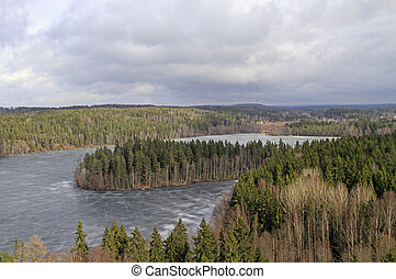 Frozen lake and forest view from the viewpoint