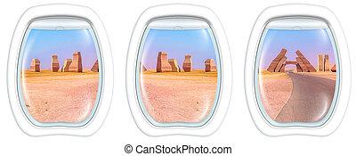 Porthole windows on Ras Mohammed - Three porthole frame...