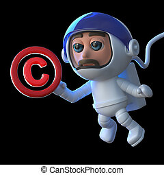 3d Funny cartoon astronaut spaceman floats in space with a...