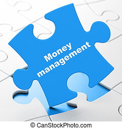 Currency concept: Money Management on puzzle background