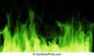 Green hell fire - CG, high quality fire Seamlessly loops