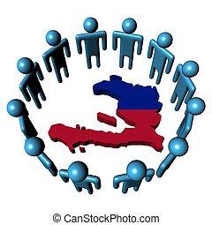 people around Haiti map flag illustration