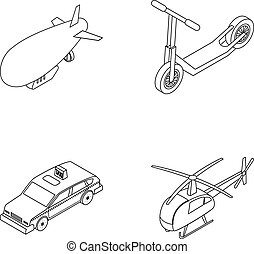 A dirigible, a children s scooter, a taxi, a...