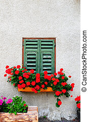 Window - Typical Italian Window With Closed Wooden Shutters