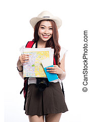Beautiful asian young woman ready to travel during summer.