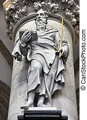 Saint Paul the apostle sculpture in Notre Dame de la...