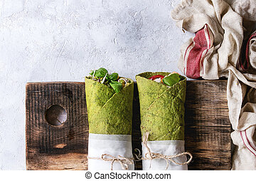 Green spinach tortilla