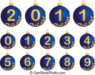 Blue Christmas Balls with numerals