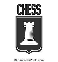 Chess club vector icon template of rook castle chessman on...
