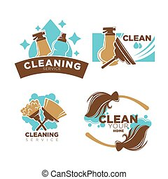 Home cleaning service vector icons set brooms, duster brush...