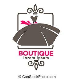 Dress boutique or fashion atelier salon vector icon template...
