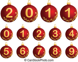 Red Christmas Balls with numerals 0 - Illustration of red...