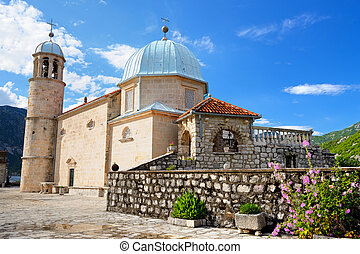 Church of Our Lady of the Rocks on island near Perast, Kotor...