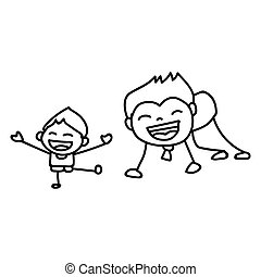 Hand drawing cartoon concept Happy Fathers Day. Vector...