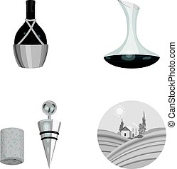 A bottle of wine in a basket, a gafine, a corkscrew with a cork, a grape valley. Wine production set collection icons in monochrome style vector symbol stock illustration web.