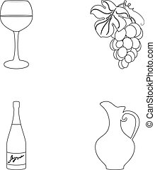 A glass of red wine, champagne, a jug of wine, a bunch. Wine production set collection icons in outline style vector symbol stock illustration web.