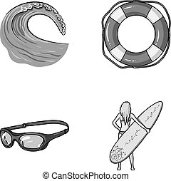 Oncoming wave, life ring, goggles, girl surfing. Surfing set...