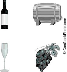 A bottle of red wine, a wine barrel, a glass of champagne, a bunch. Wine production set collection icons in monochrome style vector symbol stock illustration web.