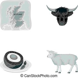 Territory on the map, bull s head, cow, eggs. Scotland country set collection icons in monochrome style vector symbol stock illustration web.