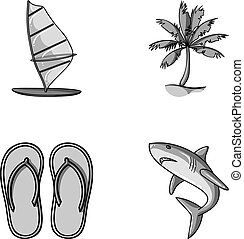 Board with a sail, a palm tree on the shore, slippers, a white shark. Surfing set collection icons in monochrome style vector symbol stock illustration web.