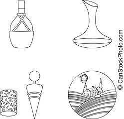 A bottle of wine in a basket, a gafine, a corkscrew with a cork, a grape valley. Wine production set collection icons in outline style vector symbol stock illustration web.