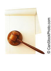 blank legal pad and law gavel, on white