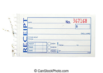 blank generic paper receipt, on white