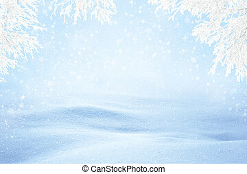 Winter Snowy Background - Natural sunny snow drifts...