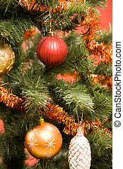 Christmas background - Close-up of Christmas fir tree...