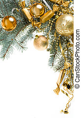 Decorated branch - Image of golden toy balls, sweets and...
