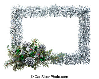 Christmas frame - Christmas composition in form of silver...