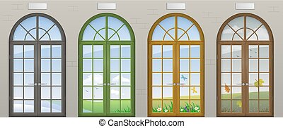 Colored arched doors. Entrance to the seasons of the year....