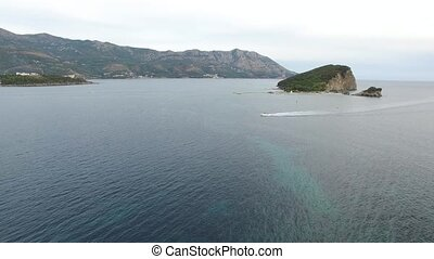 Budva Riviera in Montenegro. Sea coast and the mountains