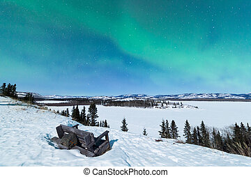 Bench looking on Lake Laberge with Northern Lights -...
