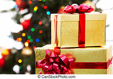 Presents - Close-up of two giftboxes on background of...