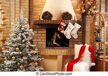 Beautiful room - Christmas room with fireplace, chair,...